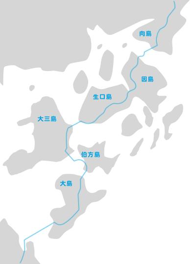 ブルーライン:愛媛県が設置したサイクリングの案内表示